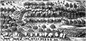 Początkowa faza bitwy pod Breitenfeld, 17 września 1631. Przedstawienie ze zbiorów muzeum Strasburga, J.E Meade, Principles of Political Economy,  1976. ISBN 0873952057.